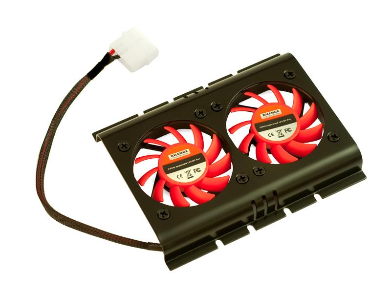 """HDD cooler για σκληρούς δίσκους 3,5"""", με δύο ανεμιστήρες των 60mm, μαύρο με κόκκινο."""