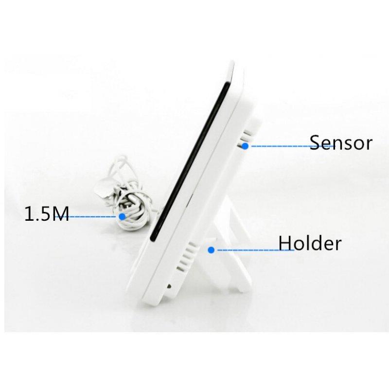 Θερμόμετρο εσωτερικού/εξωτερικού χώρου με υγρόμετρο-ρολόι και ξυπνητήρι με μεγάλη οθόνη