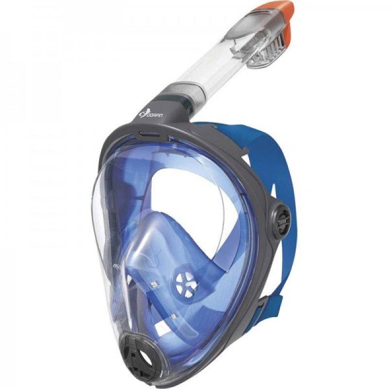 Μάσκα Θαλάσσης Full Face με υψηλής ποιότητα σιλικόνη για σωστή εφαρμογή Μπλέ-Γκρί