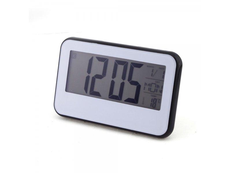 Επιτραπέζιο ψηφιακό ρολόι με θερμοκρασία και ημερομηνία με φωτιζόμενη μεγάλη οθόνη