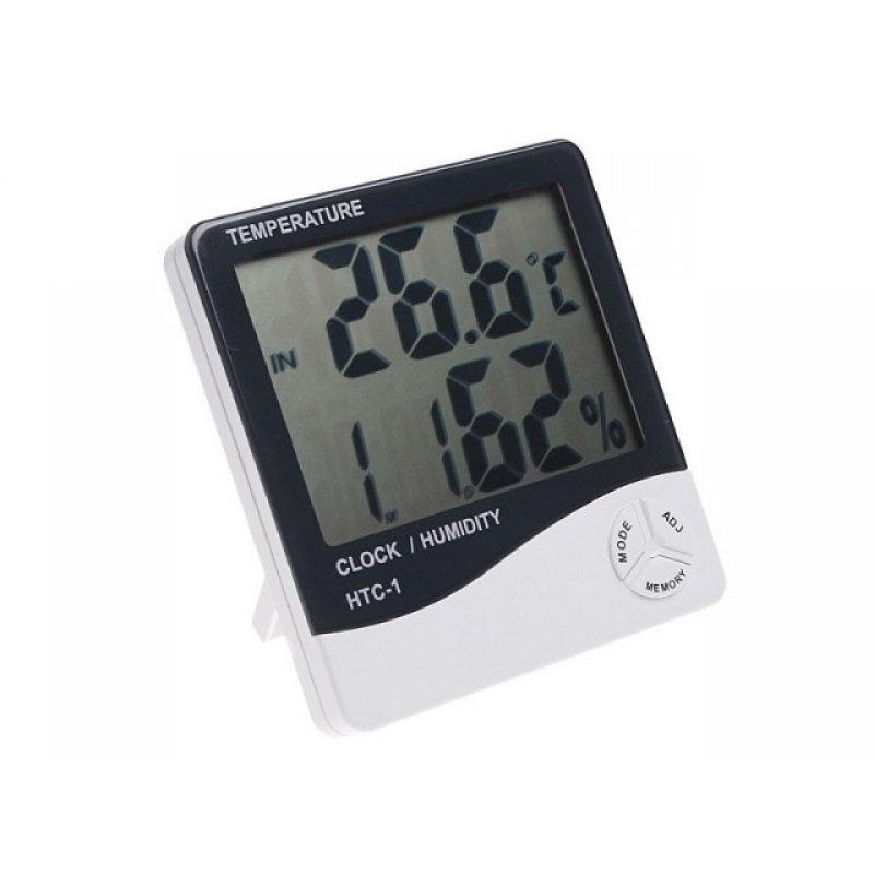 Θερμόμετρο/υγρόμετρο με ρολόι και ξυπνητήρι με μεγάλη οθόνη