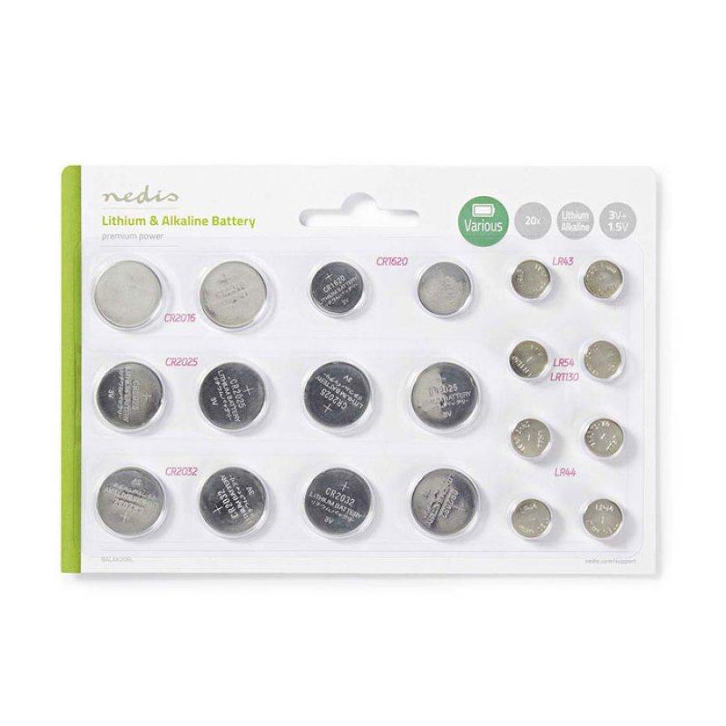 Διάφορες μπαταρίες λιθίου & αλκαλικές (κουμπί),σε blister 20 μπαταριών.