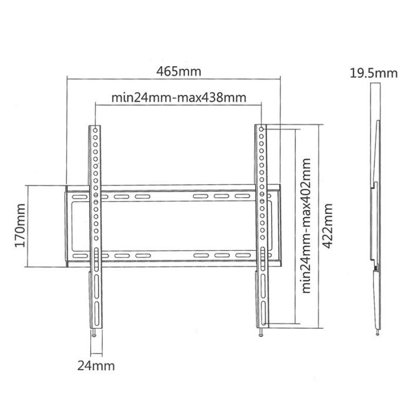 """Επιτοίχια Βάση Στήριξης Για Τηλεοράσεις LED/LCD/Plasma από 32"""" έως 55""""."""