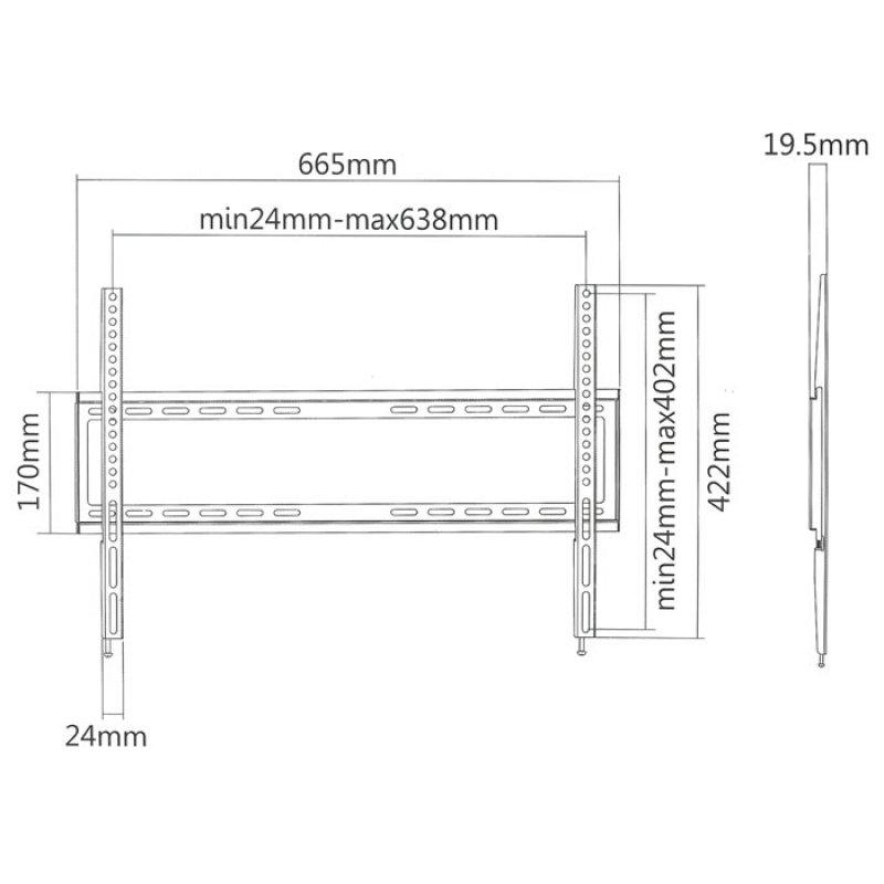 """Επιτοίχια Βάση Στήριξης Για Τηλεοράσεις LED/LCD/Plasma Από 37"""" έως 70""""."""