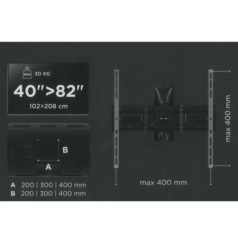 """Επιτοίχια Βάση Στήριξης Με 2 Βραχίονες, Για Τηλεοράσεις LED/LCD Από 40"""" έως 82""""."""