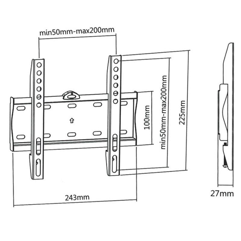 """Επιτοίχια Βάση Στήριξης Με Ενσωματωμένο Αλφάδι Για Τηλεοράσεις LED/LCD/Plasma από 23"""" έως 42""""."""