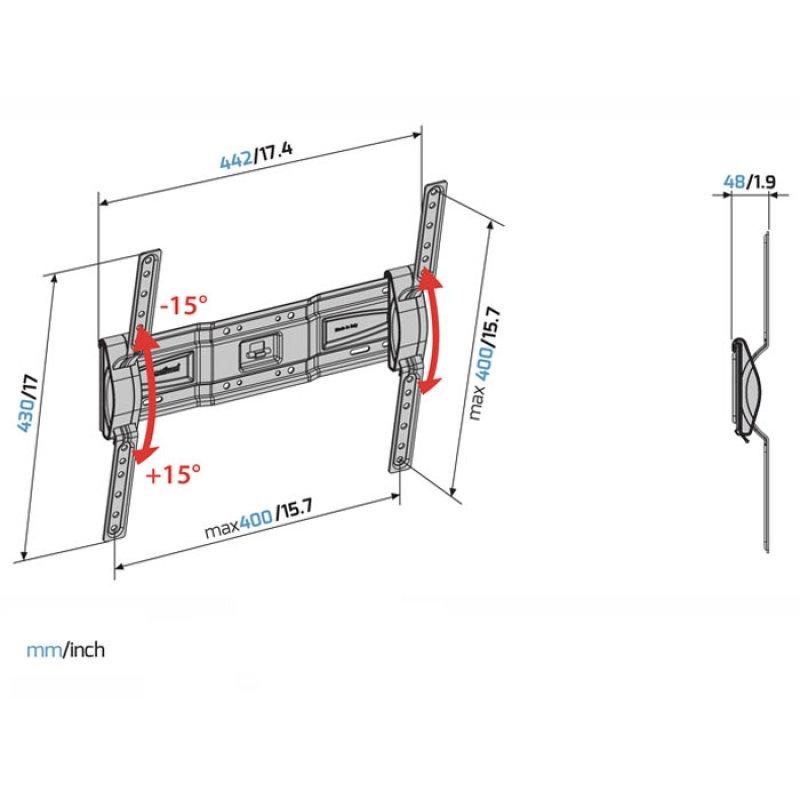 """Επιτοίχια Βάση Στήριξης για Τηλεοράσεις LED/LCD από 40"""" έως 82""""."""
