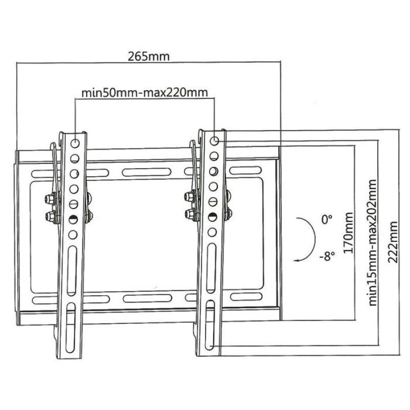 """Επιτοίχια Βάση Στήριξης Για Τηλεοράσεις LED/LCD/Plasma Από 23"""" έως 42""""."""