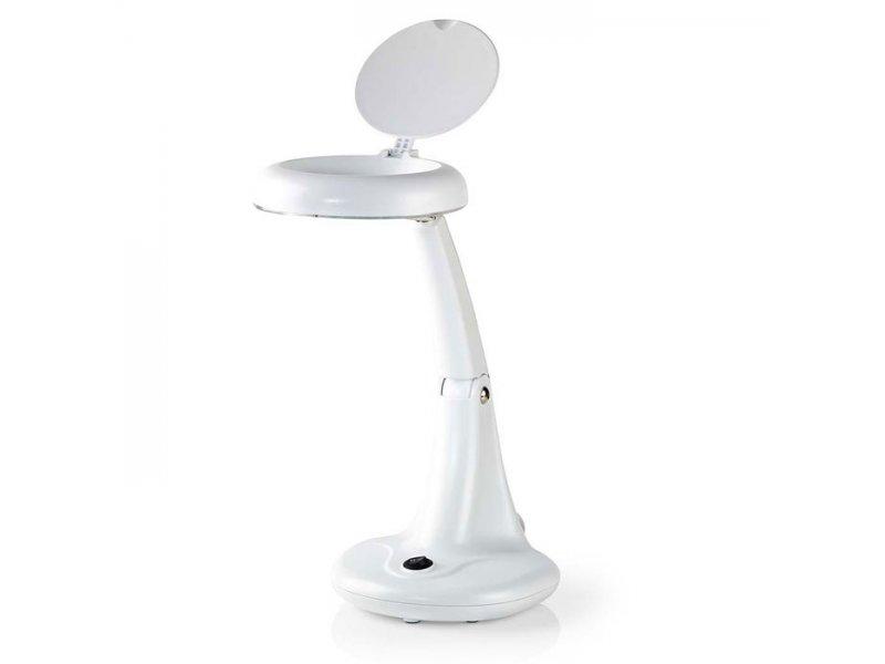 Επιτραπέζιο φωτιστικό πάγκου εργασίας, με μεγεθυντικό φακό σε άσπρο χρώμα.