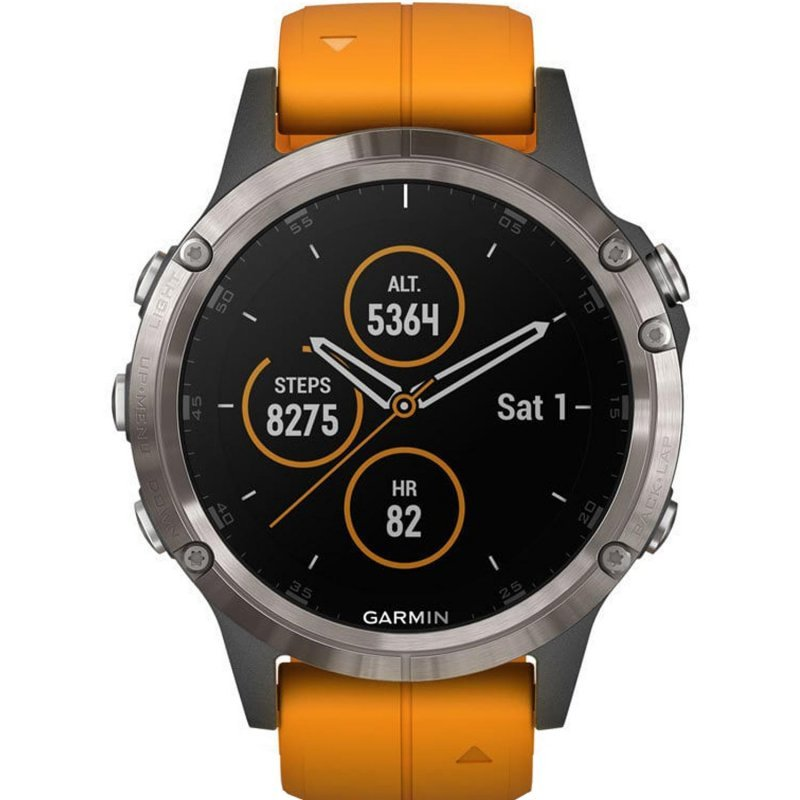Garmin fenix 5 Plus Sapphire Titanium with Solar Flare Orange Band (010-01988-05)