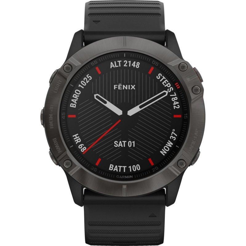 Garmin fenix 6X Sapphire Carbon Gray DLC with Black Band