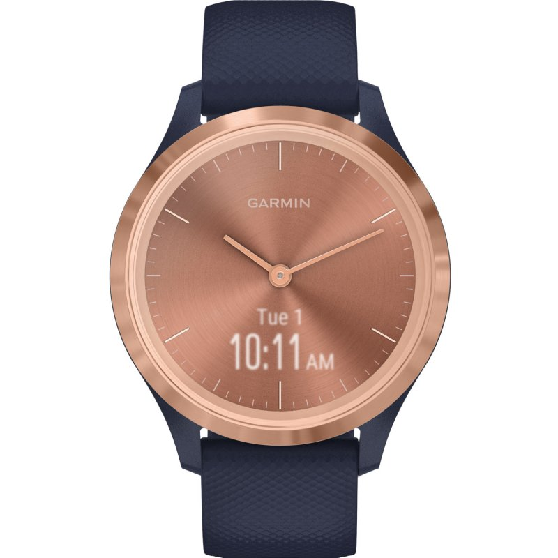Garmin Vivomove 3S Rose Gold with Navy Silicone Band