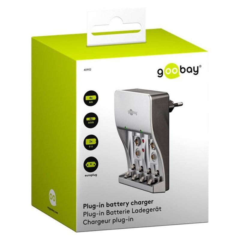 Goobay 055-1230 Plug In Φορτιστής Για Μπαταρίες ΑΑ/ΑΑΑ/9V