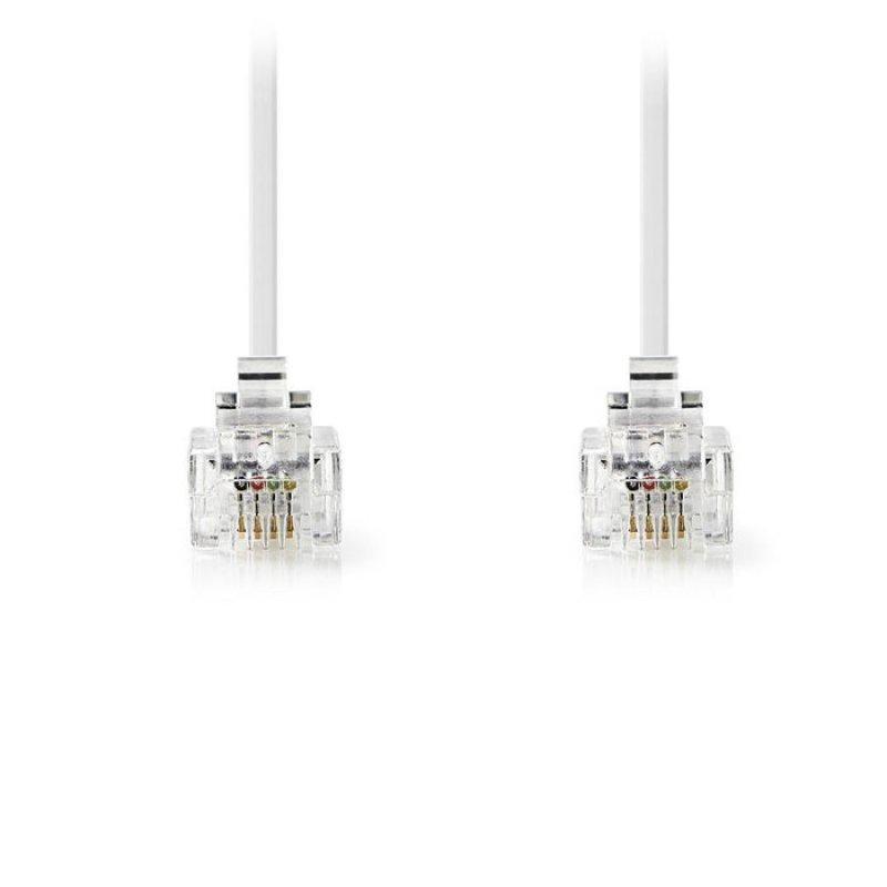 Tηλεφωνικό καλώδιο RJ11 αρσ. - RJ11 αρσ. 2.0 μ., λευκό.