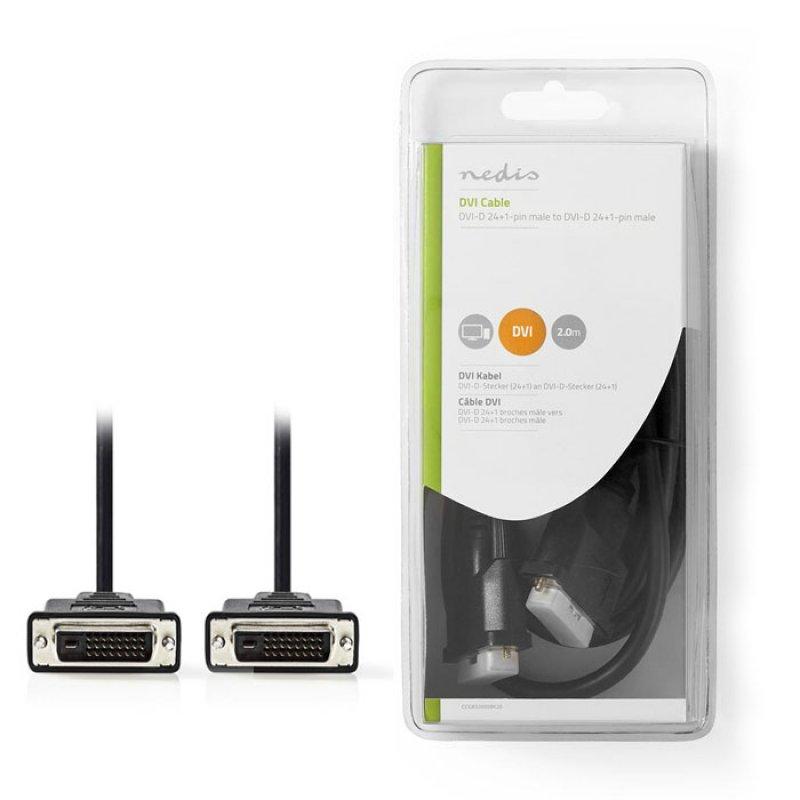 Καλώδιο DVI-D Dual αρσ. - DVI-D Dual αρσ., 2m σε συσκευασία blister.