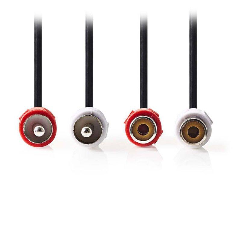 Καλώδιο Προέκτασης Stereo 2x RCA, Μαύρο, 2m.