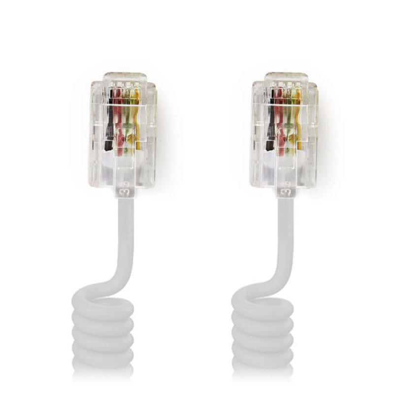 Καλώδιο σπιράλ RJ10 ( ακουστικό συσκευής) αρσ. - αρσ. 2.0 μ., λευκό.