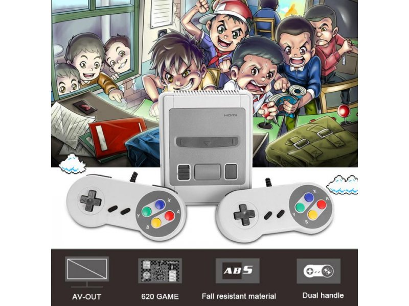 Retro Μίνι Κονσόλα 620 Κλασικών Παιχνιδιών Με Δύο Χειριστήρια Super Mini SFC 620