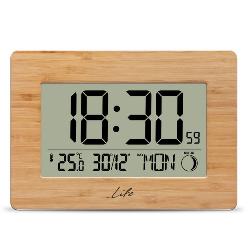 Bamboo ψηφιακό ρολόι / ξυπνητήρι με μεγάλη οθόνη LCD και θερμόμετρο εσωτερικού χώρου.