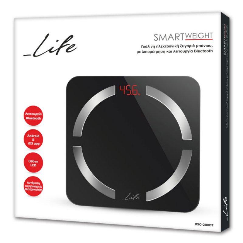 LIFE Smartweight BT Bluetooth ηλεκτρονική ζυγαριά μπάνιου με λιπομέτρηση