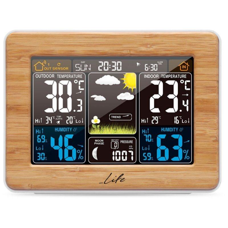 "Bamboo μετεωρολογικός σταθμός με ασύρματο εξωτερικό αισθητήρα, έγχρωμη οθόνη LCD 5.7"" και ρολόι/ξυπνητήρι."