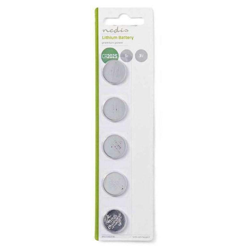 Μπαταρία λιθίου (κουμπί) CR2025 3V σε blister 5 μπαταριών.