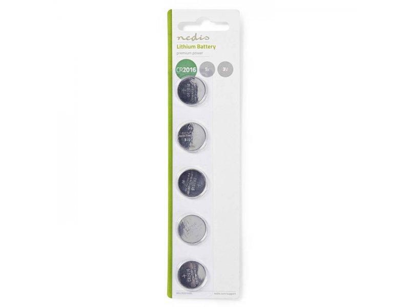 Μπαταρία λιθίου (κουμπί) CR2016 3V σε blister 5 μπαταριών.