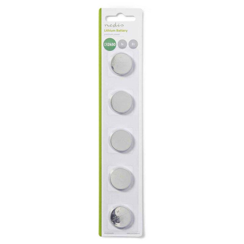 Μπαταρία λιθίου (κουμπί) CR2450 3V σε blister 5 μπαταριών.