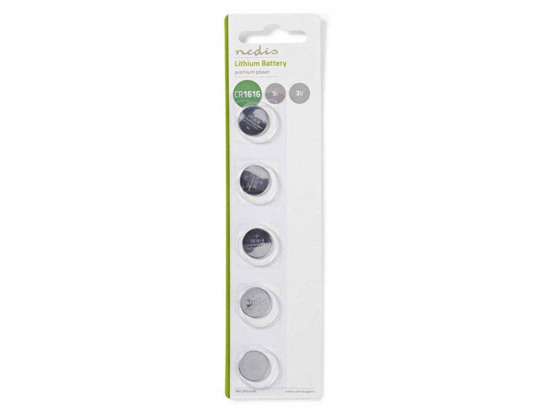 Μπαταρία λιθίου (κουμπί) CR1616 3V σε blister 5 μπαταριών.