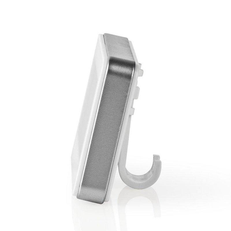 Ψηφιακό θερμόμετρο ψυγείου, σε άσπρο χρώμα με ασημί περίγραμμα.