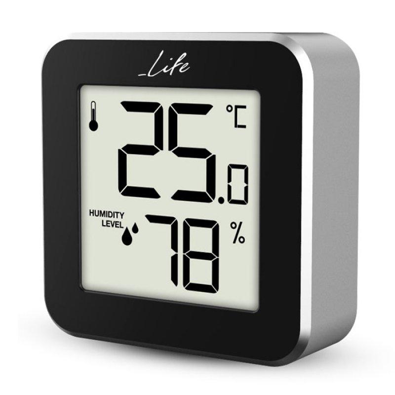 Ψηφιακό θερμόμετρο και υγρόμετρο εσωτερικού χώρου, σε μαύρο χρώμα με πλαίσιο αλουμινίου.