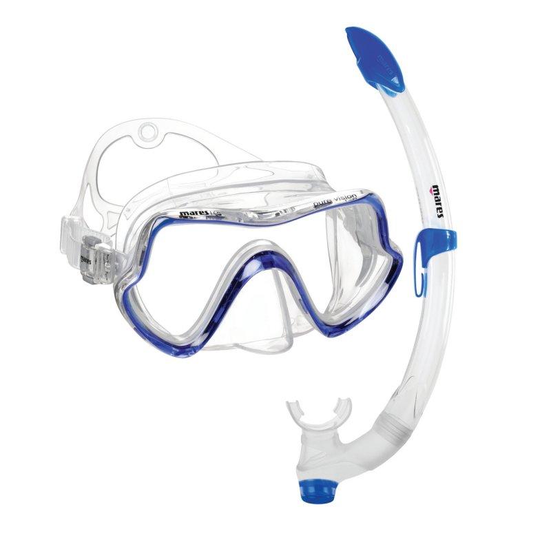 Σέτ Μάσκα Και Αναπνευστήρας Mares Set Pure Vision Clean Μπλέ