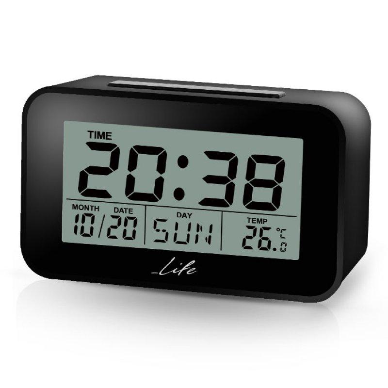 Ψηφιακό ρολόι / ξυπνητήρι με οθόνη LCD, θερμόμετρο εσωτερικού χώρου και ημερολόγιο.