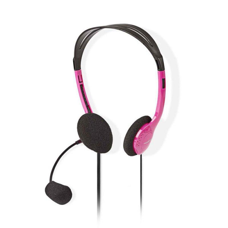 Στερεοφωνικό On-Ear Headset  Mε Σύνδεση 2x3,5mm Σε Ροζ Χρώμα.