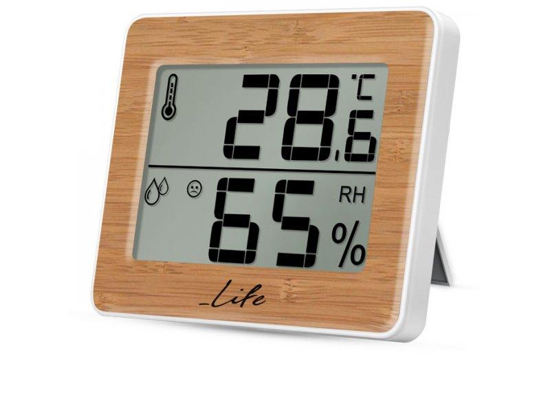 Θερμόμετρο/Υγρόμετρο εσωτερικού χώρου με bamboo πρόσοψη
