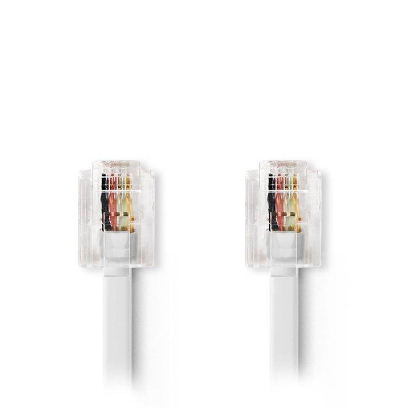 Tηλεφωνικό καλώδιο RJ11 αρσ. - RJ11 αρσ. 10.0 μ., λευκό.