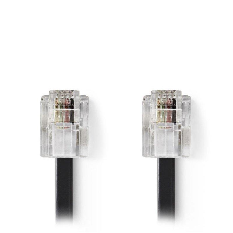 Tηλεφωνικό καλώδιο RJ11 αρσ. - RJ11 αρσ. 10.0 μ., μαύρο.