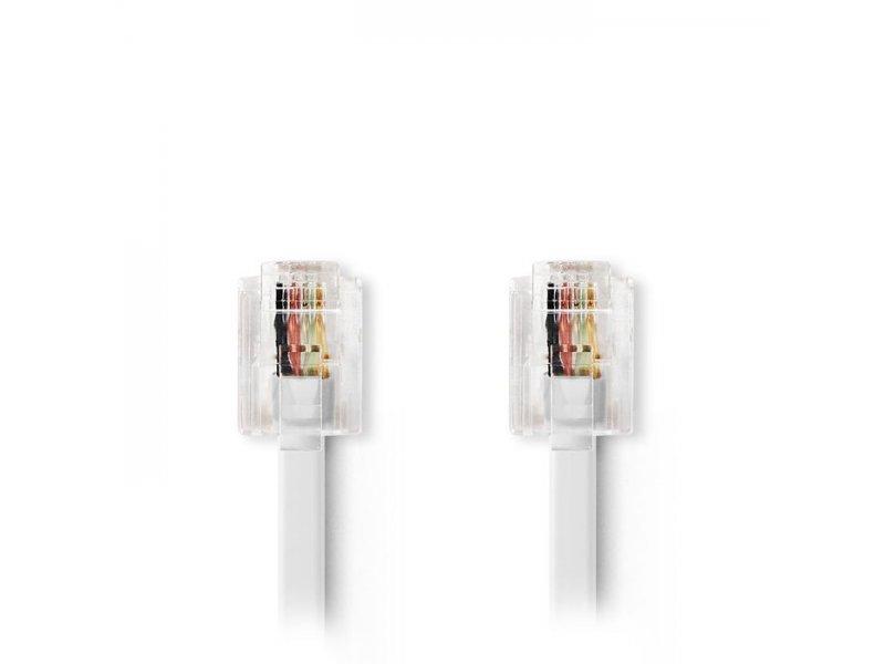Tηλεφωνικό καλώδιο RJ11 αρσ. - RJ11 αρσ. 5.0 μ., λευκό.