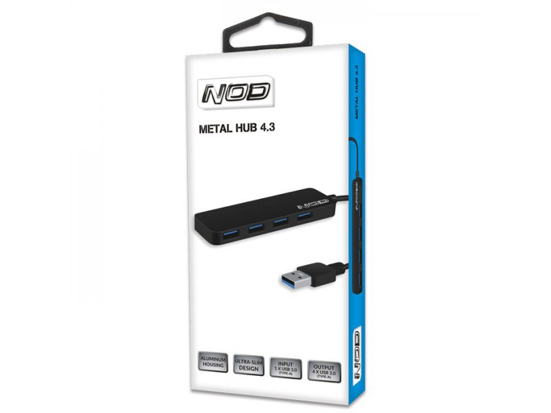 USB 3.0 Hub αλουμινίου 4 θυρών σε μαύρο χρώμα
