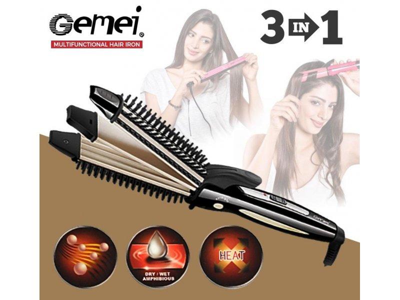 Ισιωτική και βούρτσα μαλλιών 3 σε 1 Gemei gm-2929