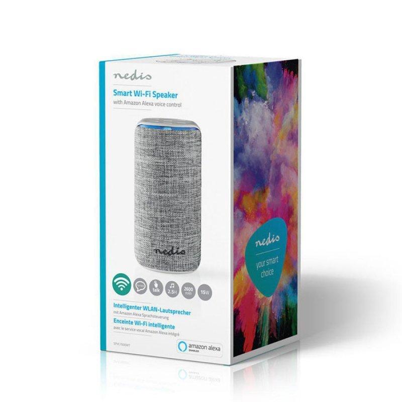 Smart Wi-Fi ηχείο 15W, συμβατό με Amazon Alexa, σε λευκό/γκρι χρώμα Nedis SPVC7000WT