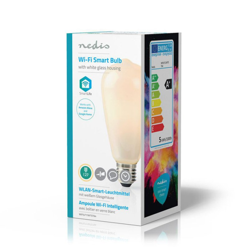 Wi-Fi Έξυπνη Λάμπα LED, E27, ST64, 5W, Warm White, 500lm.