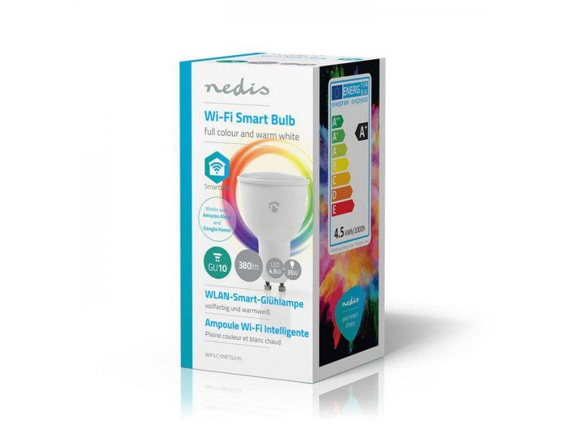 Wi-Fi έξυπνη λάμπα LED σε RGB και θερμό λευκό, GU10, 4,5W, 380lm